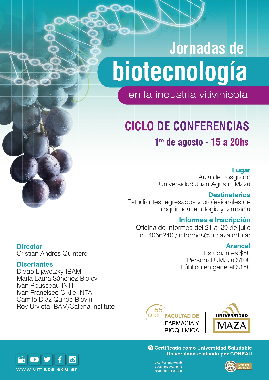 Flyer jornadas de biotecnología en la industria vitivinicola